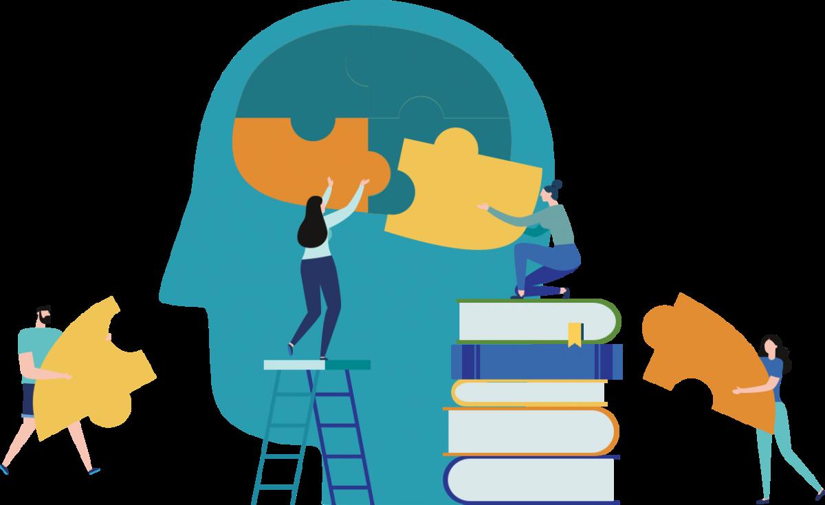 Illustration of a jigsaw brain